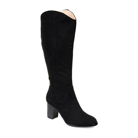 Journee Collection Womens Parrish Dress Stacked Heel Zip Boots, 9 Medium, Black