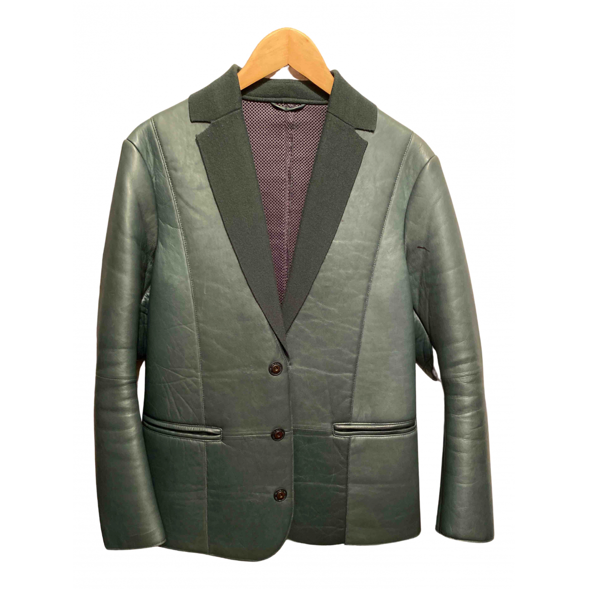 Emporio Armani - Manteau   pour femme en cuir - vert