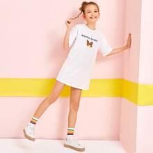 T-Shirt Kleid mit sehr tief angesetzter Schulterpartie, Schmetterling & Buchstaben Grafik