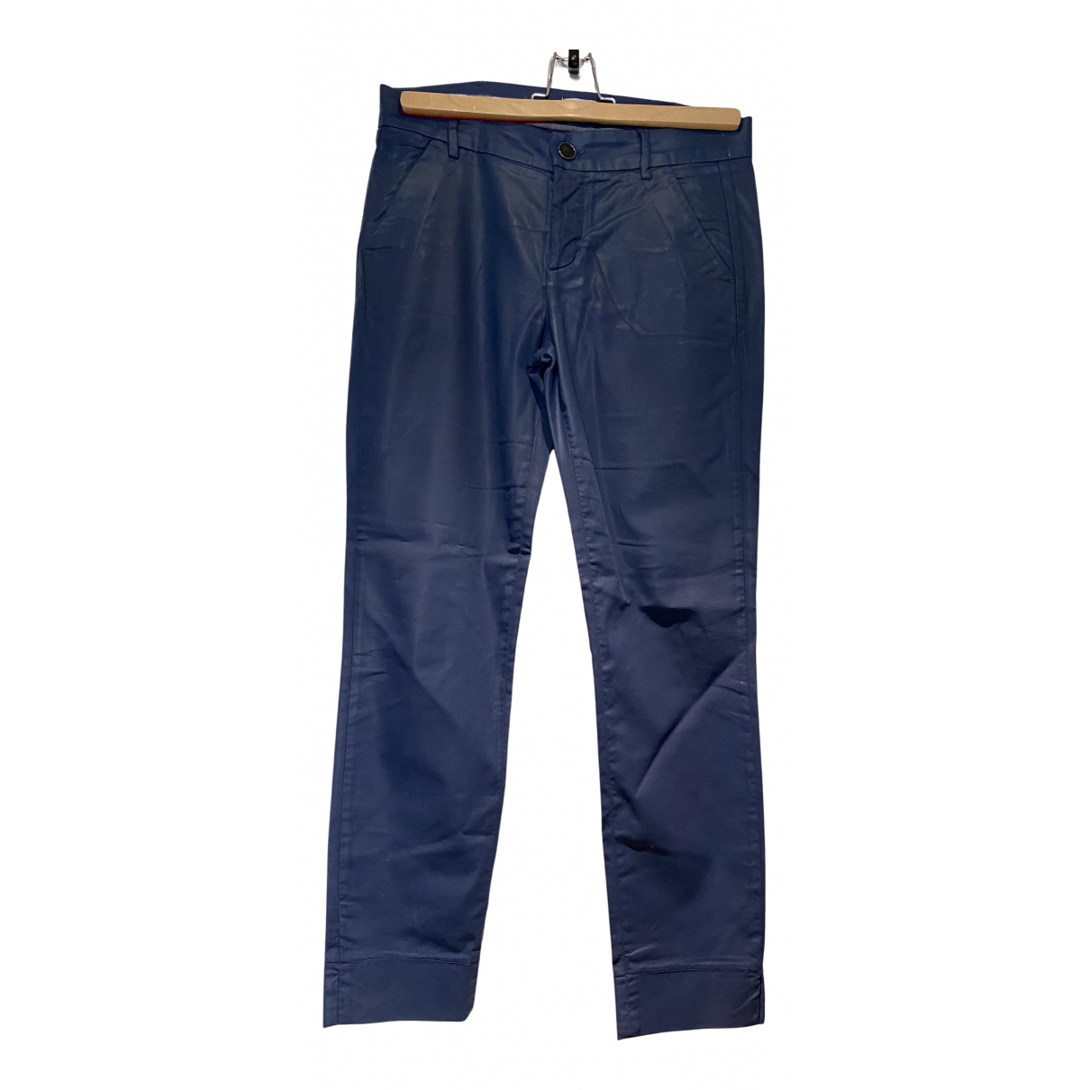 7 For All Mankind N Blue Cotton Trousers for Women 8 UK