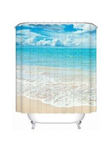 3D Beach and Blue Sky Printed Polyester Bathroom Shower Curtain
