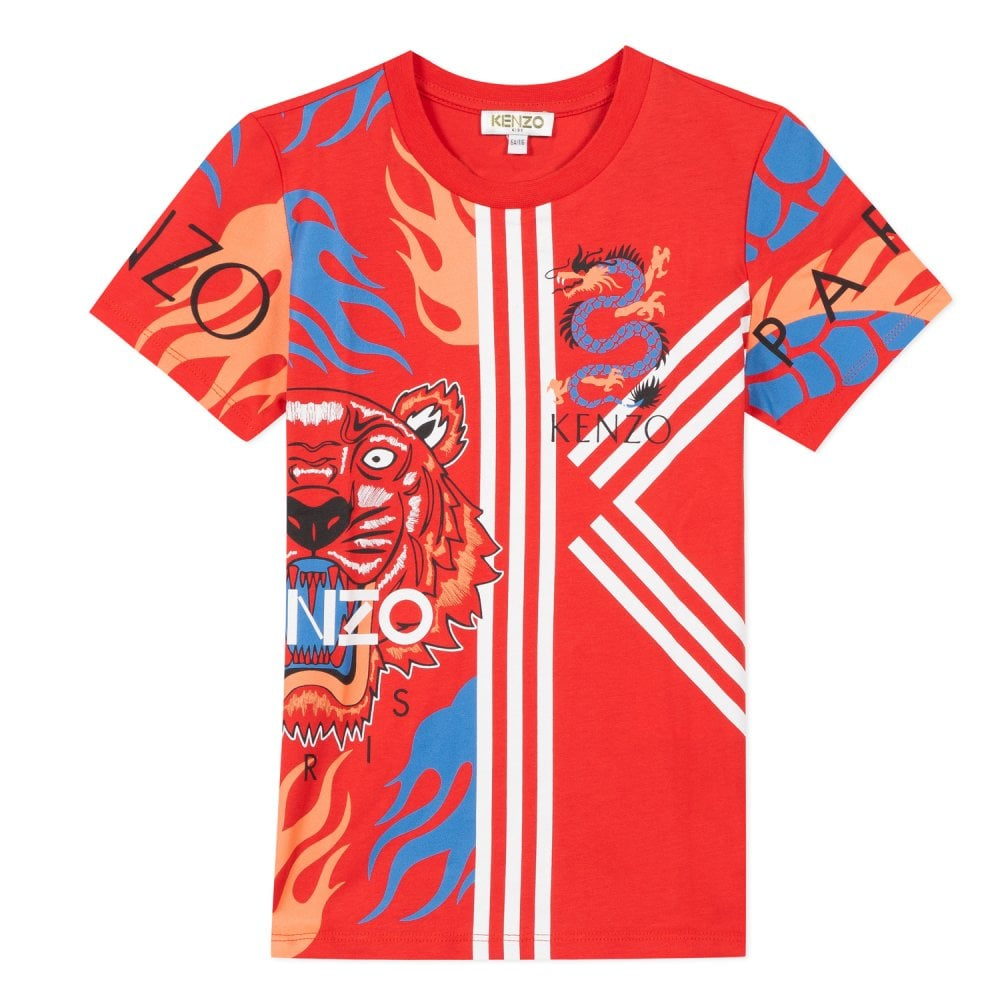 Kenzo Kids Japanese Graphic Print Tiger T-Shirt Colour: RED, Size: 14