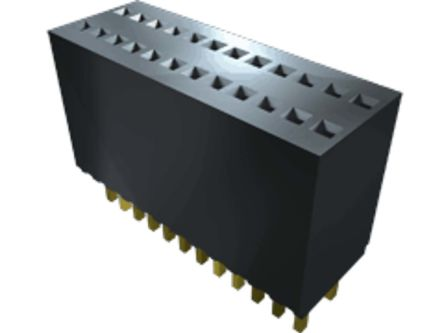 Samtec , SMS 1.27mm Pitch 12 Way 1 Row Vertical PCB Socket, Surface Mount, Through Hole Termination (37)