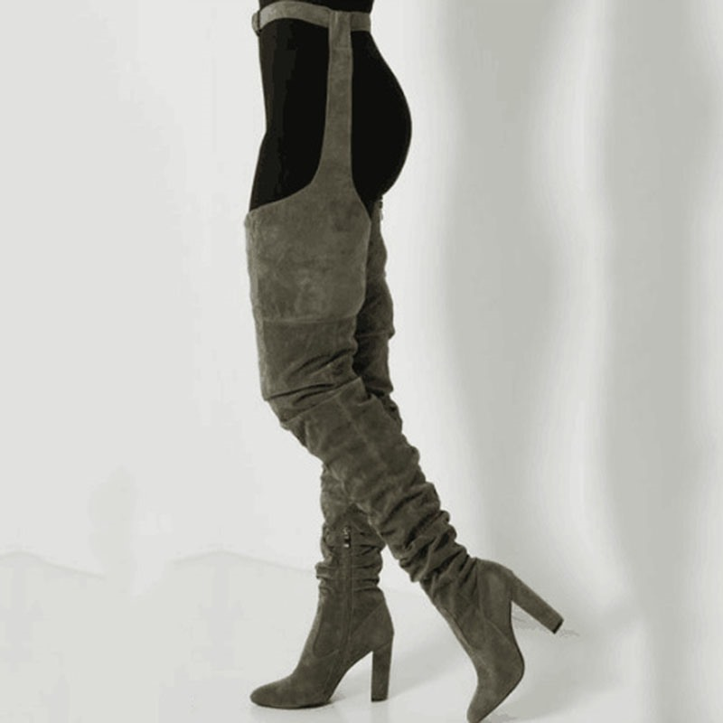 Ericdress Back Zip Pointed Toe Chunky Heel Women's Thigh High Boots