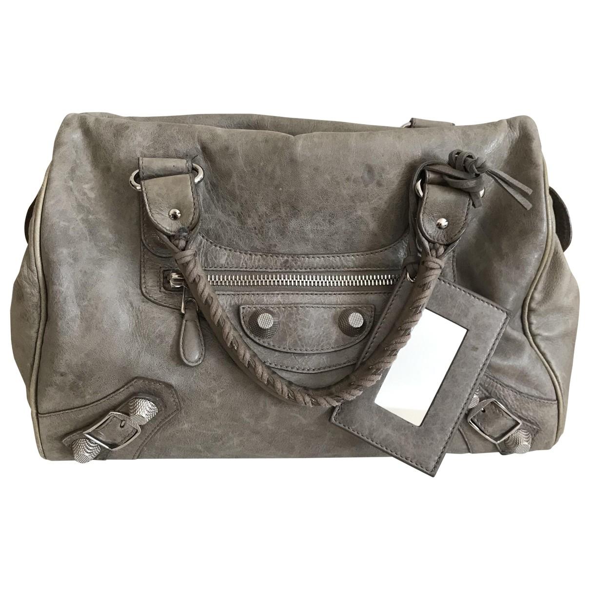 Balenciaga City Grey Leather handbag for Women \N