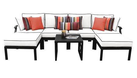 MADISON-07a Kathy Ireland Homes and Gardens Madison Ave. 7 Piece Aluminum Patio Set 07a with 1 Set of Snow