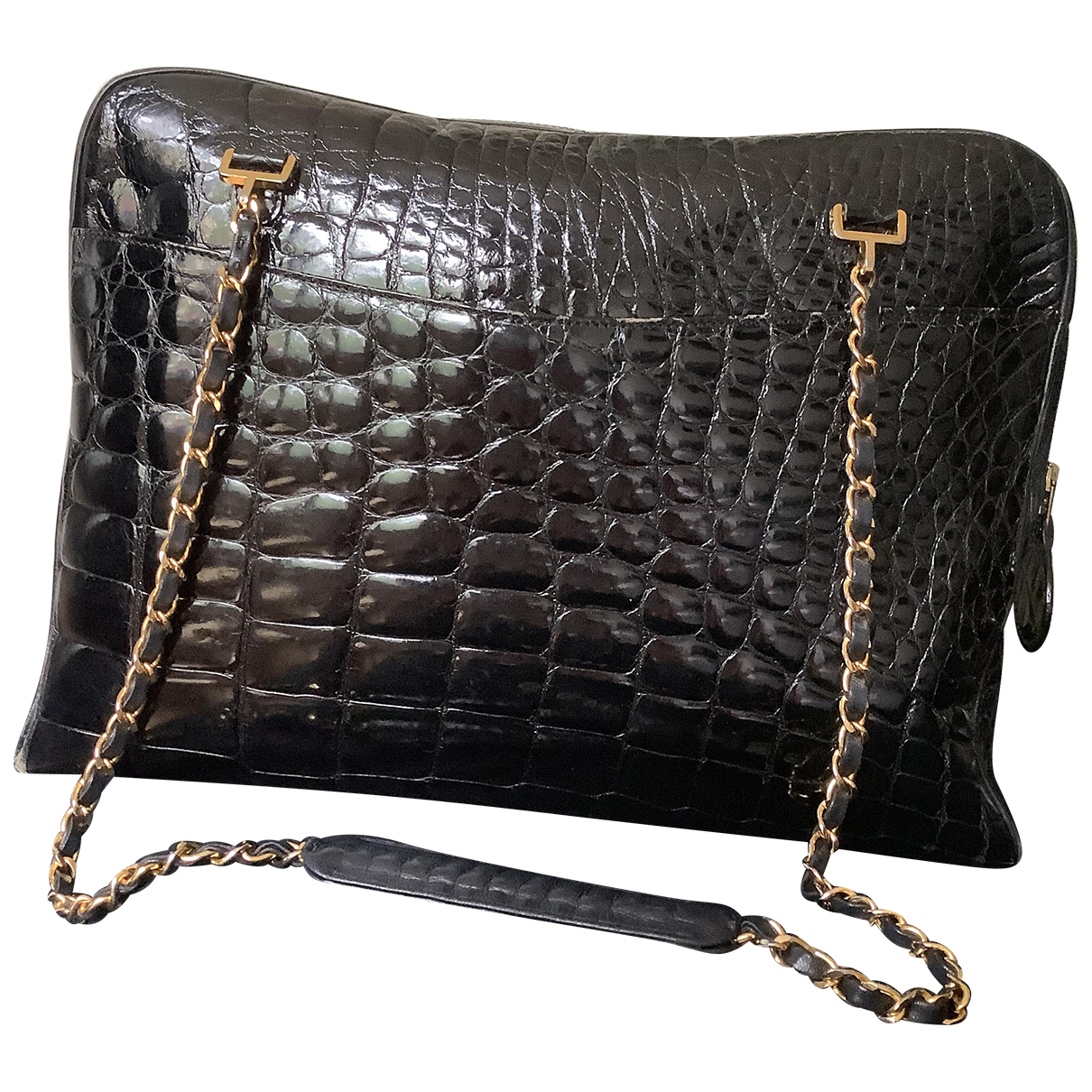 Chanel Camera Handtasche in  Schwarz Krokodil