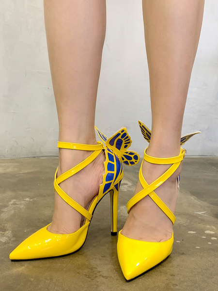 Milanoo Woman\'s High Heels Pointed Toe Stiletto Heel Bows Chic Yellow PU Leather Buterfly Adornment Shoes