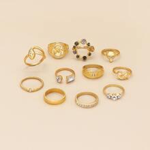 11 Stuecke Ring mit Strass