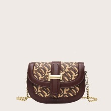 Contrast Piping Chain Crossbody Bag