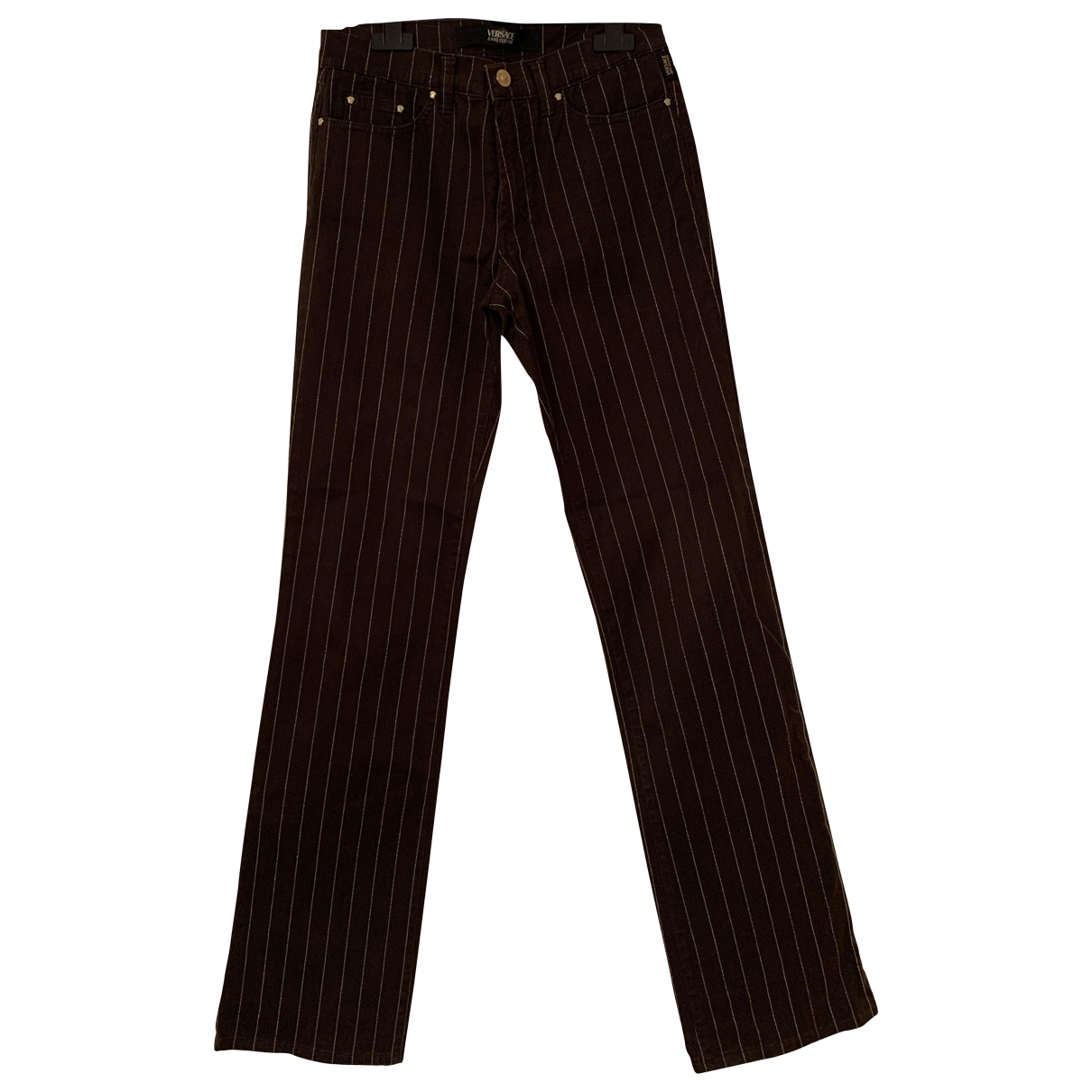 Versace Jeans \N Brown Cotton Trousers for Women 42 IT