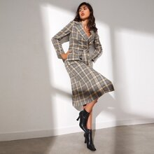 Notched Collar Belted Plaid Coat