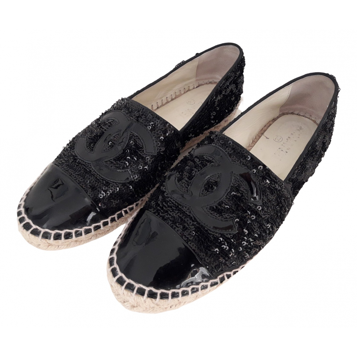 Chanel - Espadrilles   pour femme en a paillettes - noir