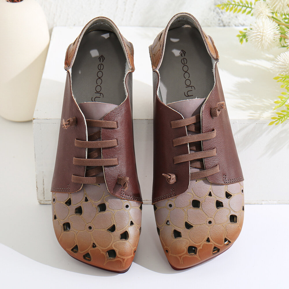 SOCOFY Comfy Leather Contrast Splicing Floral Cut out Elastic Strap Slip-on Flat Shoes