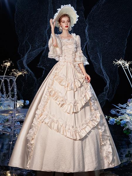 Milanoo Vestido de traje retro victoriano rococo, disfraz de Cosplay de algodon de encaje con volantes en capas, Halloween