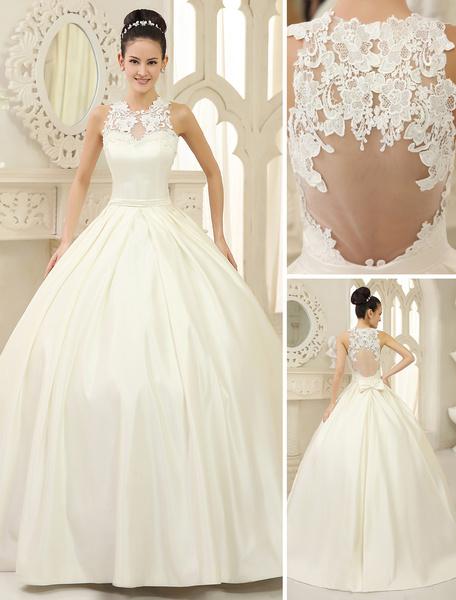 Milanoo Vestido de novia de saten con escote redondo