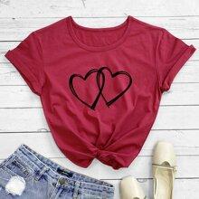 T-Shirt mit Herzen Muster und kurzen Ärmeln