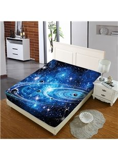 Planets In A Galaxy In Outer Space Reactive Printing 1-Piece Polyester Bed Cover / Mattress Cover