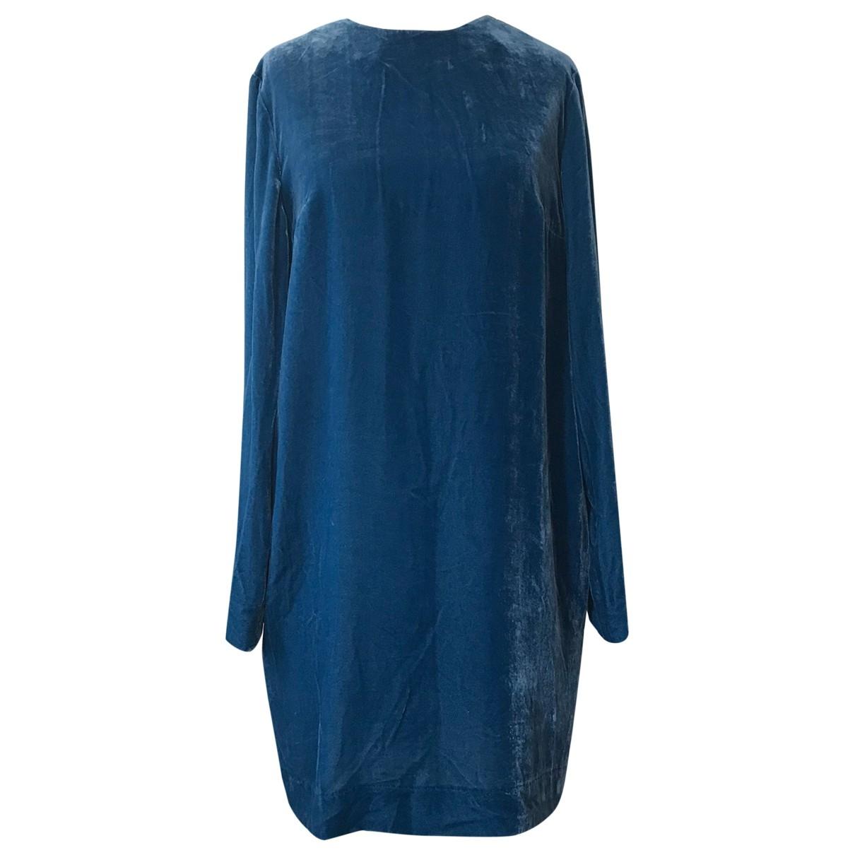 Cos - Robe   pour femme en velours - turquoise
