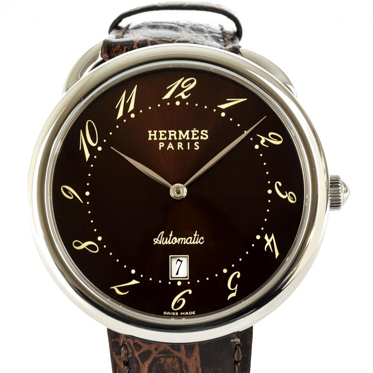 Hermes - Montre Arceau pour homme en acier - marron