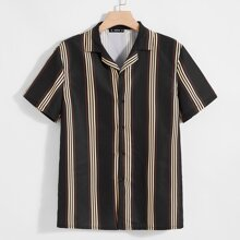 Men Notch Collar Striped Shirt
