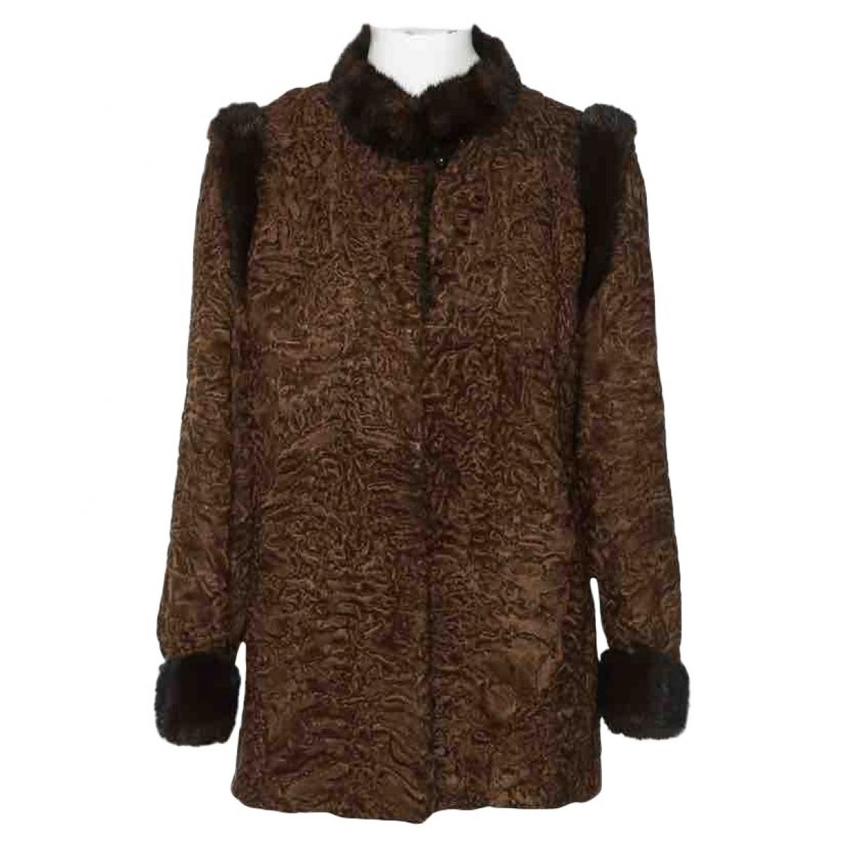 Sprung Freres - Manteau   pour femme en astrakan - marron