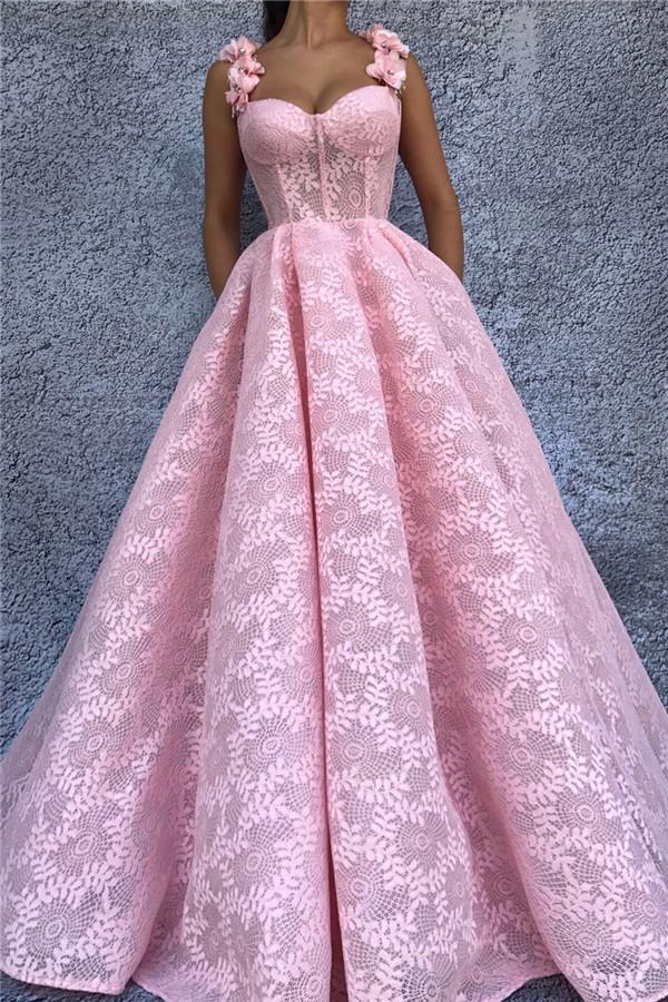 Exquisito encaje cariño rosa vestido de fiesta | Vestido de fiesta largo sin mangas con tiras de flores elegantes