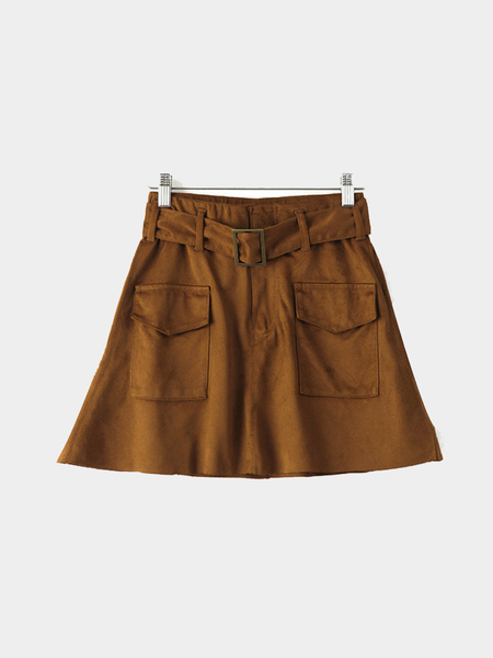 Yoins Suede Mini Skirt with Belt
