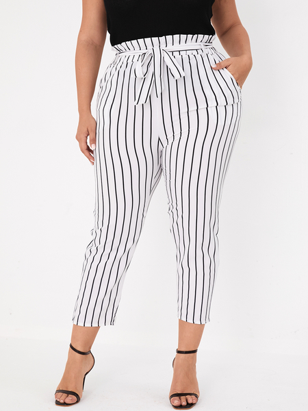 Yoins Plus Size White Belt Design Striped Pants