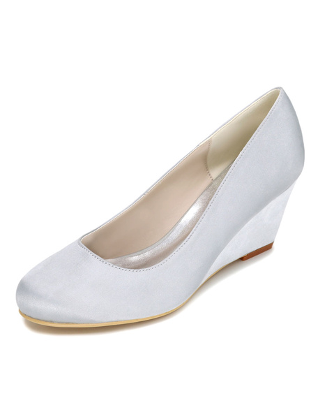Milanoo Ivory Wedding Shoes Wedge Heel Elegant Satin Bridal Shoes