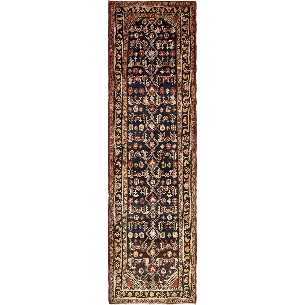 Hand Knotted Khamseh Semi Antique Wool Runner Rug - 3' 9 x 13' 4 (3' 9 x 13' 4 - Navy blue)