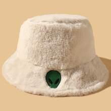 Alien Embroidery Plush Bucket Hat