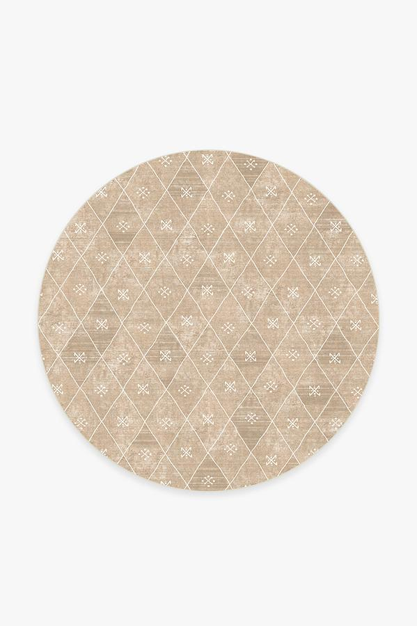 Washable Rug Cover | Kavi Diamond Rose Gold Rug | Stain-Resistant | Ruggable | 6' Round