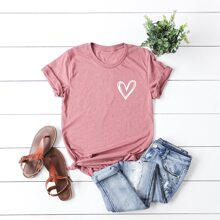Plus Heart Print Short Sleeve Tee