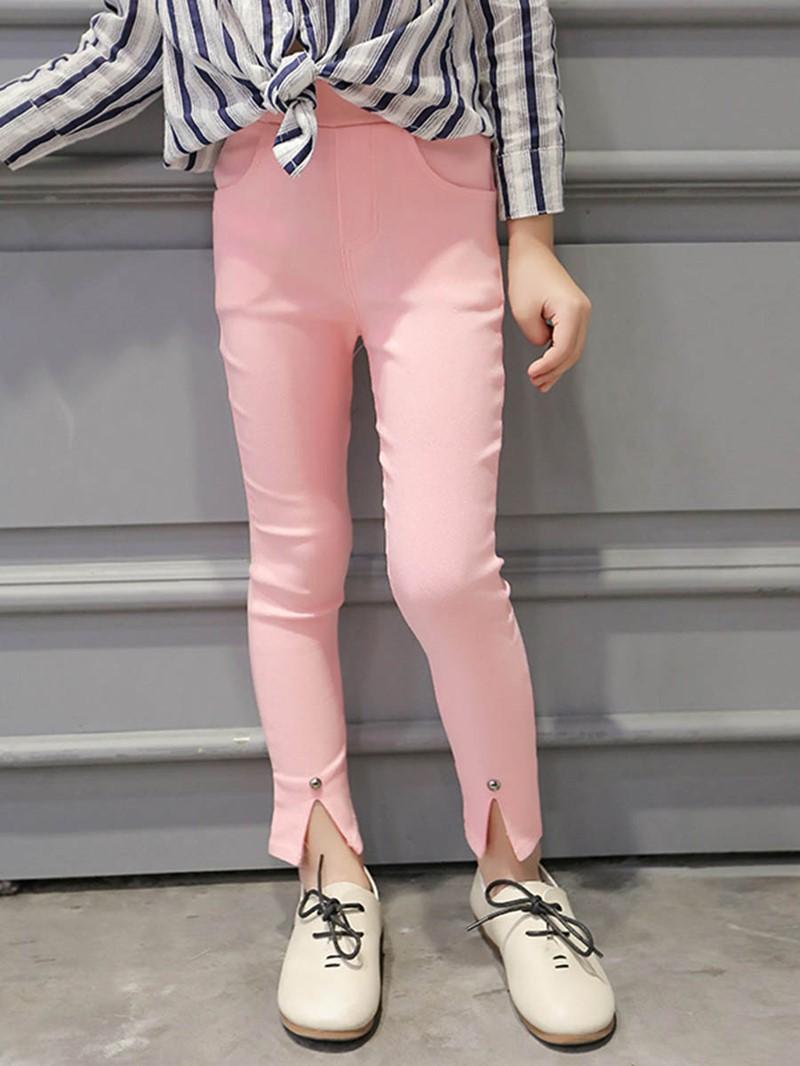 Ericdress Plain Rivet Split Girls Leggings
