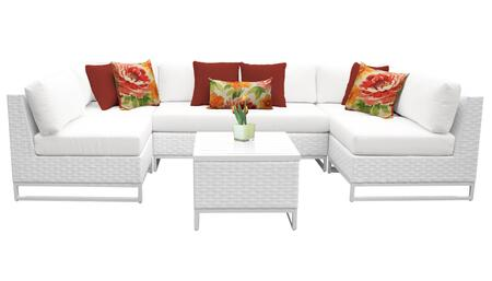 Miami MIAMI-07d 7-Piece Wicker Patio Furniture Set 07d with 2 Corner Chairs  4 Armless Chairs and 1 End Table - 1 Sail White