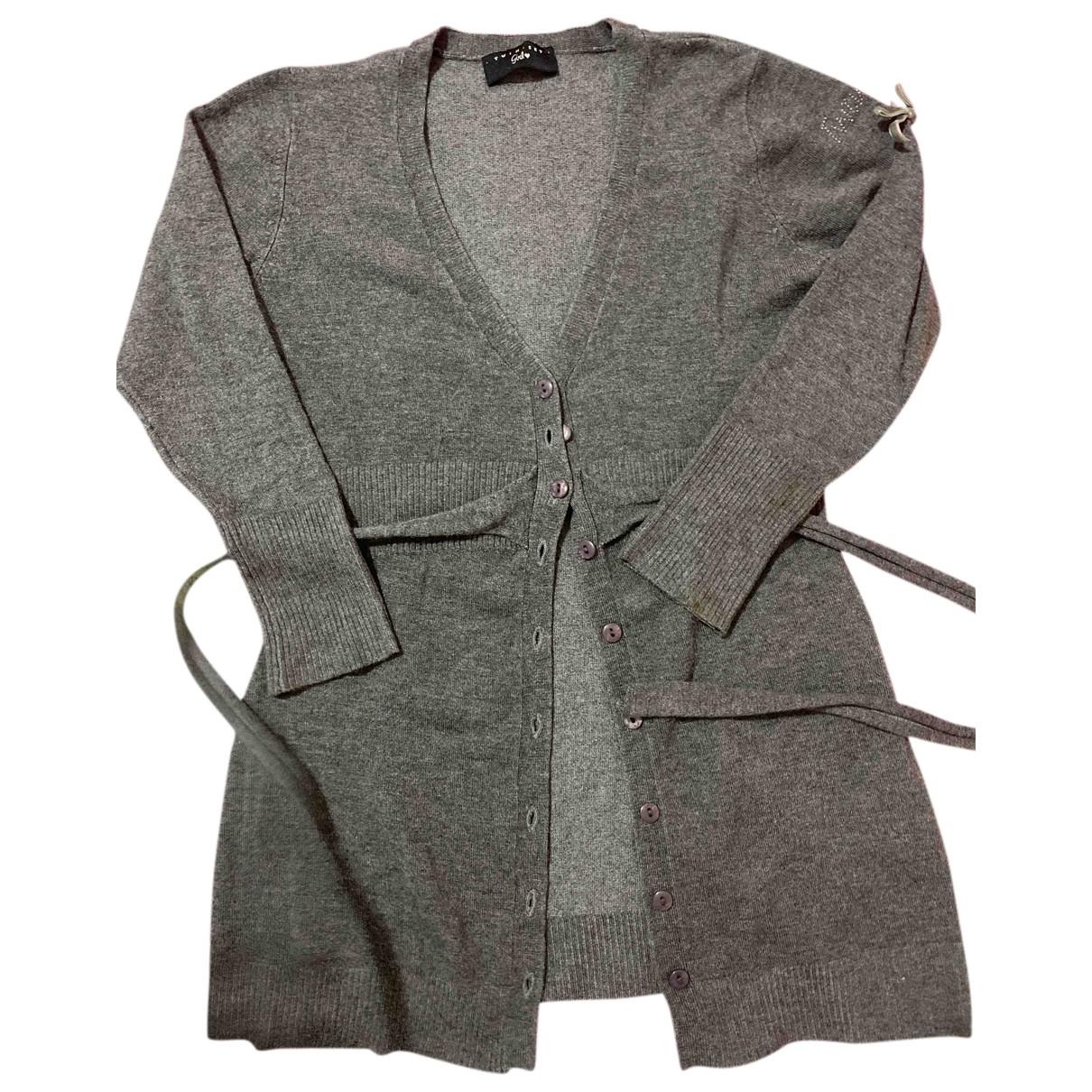 Twin Set - Pull   pour enfant en laine - gris
