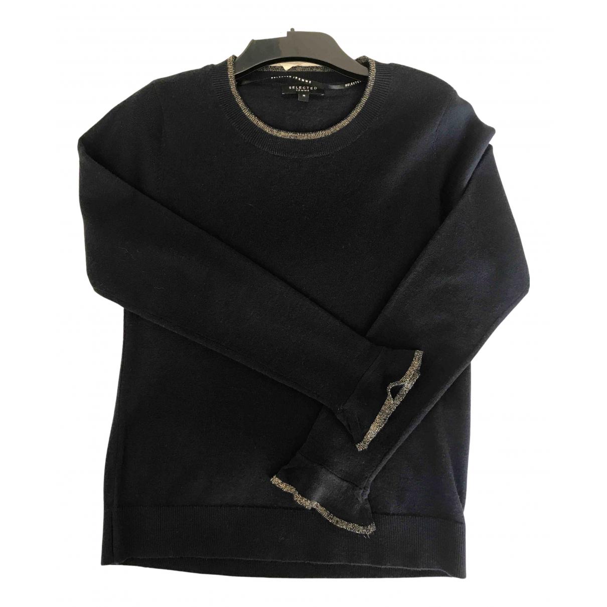 Selected - Pull   pour femme en laine - marine