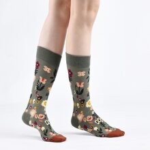 Flower Print Crew Socks