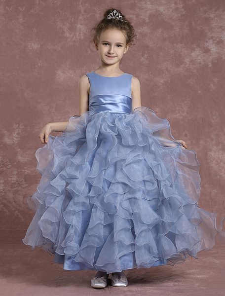 Milanoo Flower Girl Dresses Sleeveless Organza Ball Gown Toddler's Tiered Zipper Ankle Length Pageant Dresses