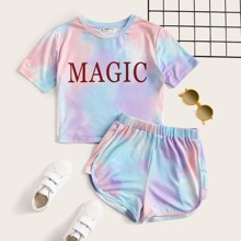 Girls Letter Graphic Tie Dye Top & Dolphin Shorts Set