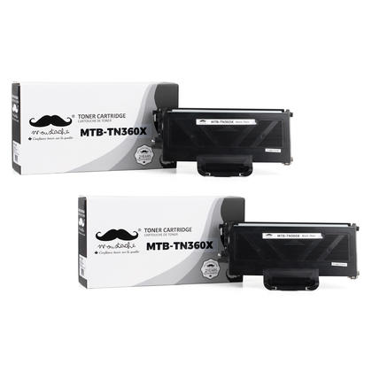 Compatible Brother TN360X Black Toner Cartridge by Moustache, 2 Pack - Extra High Yield Version of TN360