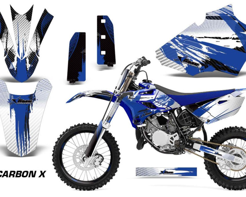 AMR Racing Graphics MX-NP-YAM-YZ85-15-18-CX U Kit Decal Sticker Wrap + # Plates For Yamaha YZ85 2015-2018áCARBONX BLUE