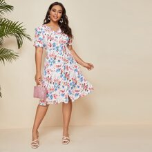 Kleid mit Knopfen und ueberallem Blumen Muster
