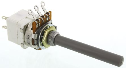 TE Connectivity 1 Gang Rotary Carbon Potentiometer with an 6.35 mm Dia. Shaft - 4.7kΩ, ±20%, 0.4W Power Rating, Linear,