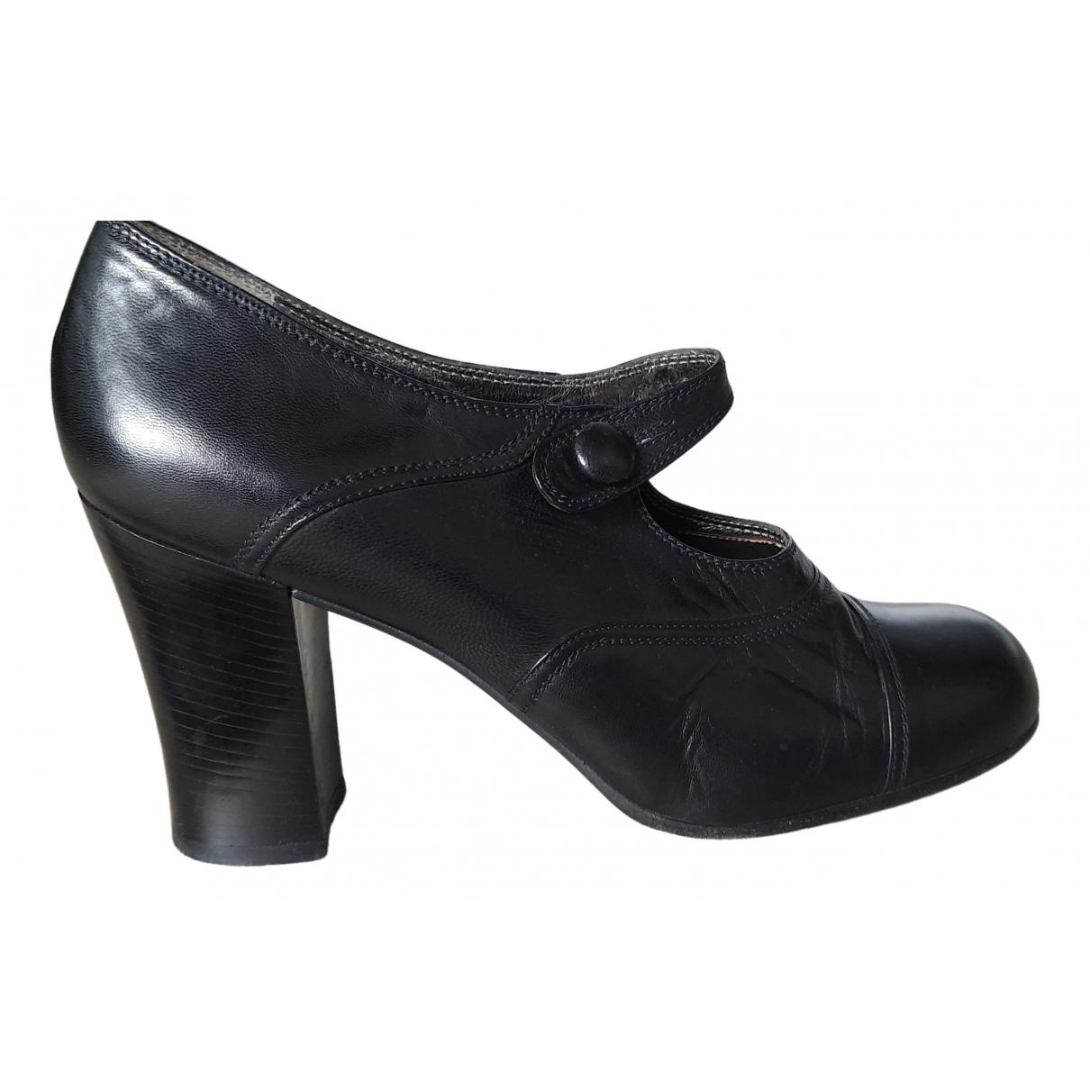 Prada Mary Jane Black Leather Heels for Women 40 EU