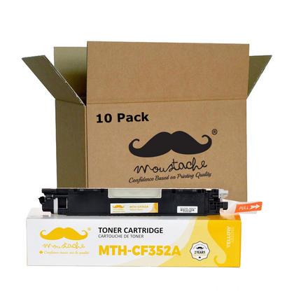 Compatible HP 130A CF352A Yellow Toner Cartridge - Moustache - 10/Pack