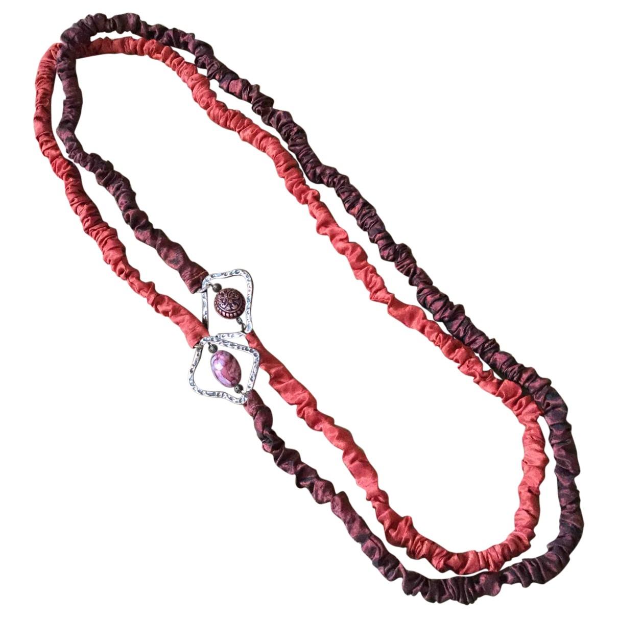 - Sautoir Motifs Ethniques pour femme en soie - rouge