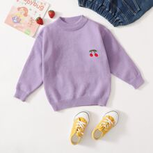 Toddler Girls Cherry Embroidery Sweater