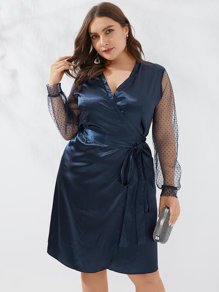 Yoins Plus Size Mesh Patchwork V-neck Wrap Design Dress